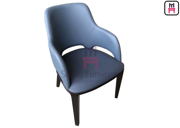 Micro Fiber Leather Wood Restaurant Chair Upholstered No Folded With Armrests