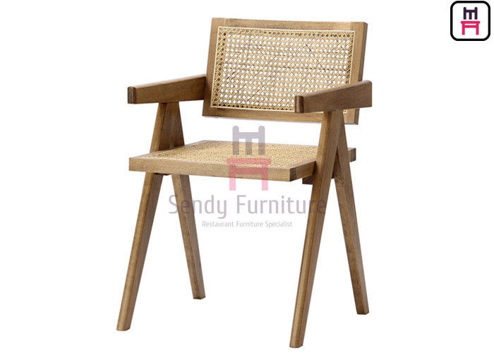 Southeast Asian Style Solid Wood Frame with Hand-Made Rattan Backrest Hotel Dining Chair